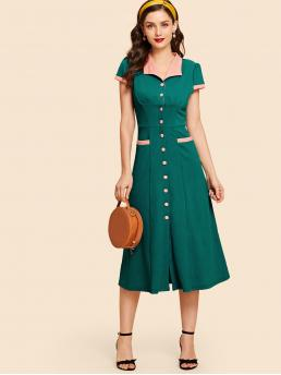 Women's Green Colorblock Pocket Collar Button up A-line Dress