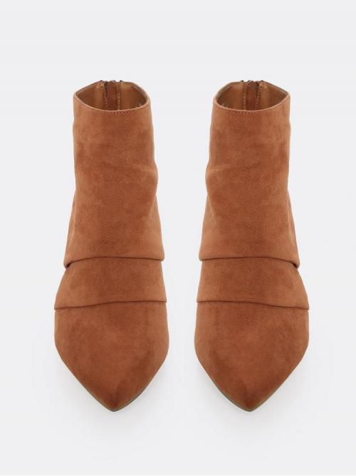 Fashion Polyester Coffee Brown Cargo Pants Buckle Folded Detail Pointed Heeled Boots