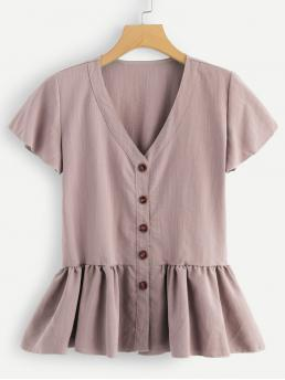 Short Sleeve Peplum Button Chiffon through Pep Hem Top Sale