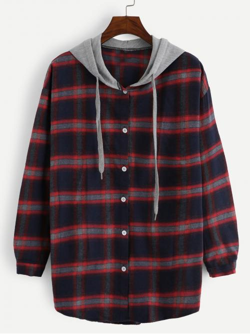 Preppy Plaid Shirt Regular Fit Hooded Long Sleeve Placket Multicolor Longline Length 2 In 1 Plaid Hooded Shirt