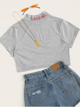 Sporty Letter Regular Fit Stand Collar Short Sleeve Pullovers Grey Crop Length Letter Graphic Crop Tee