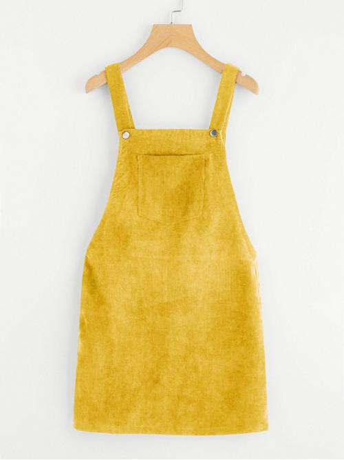 Preppy Pinafore Plain Loose Straps Sleeveless Natural Yellow Short Length Pocket Front Cord Overall Dress