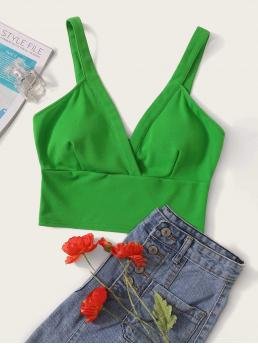 Sexy Cami Plain Slim Fit Straps Green and Bright Crop Length Surplice Neck Wide Hem Bralet Top