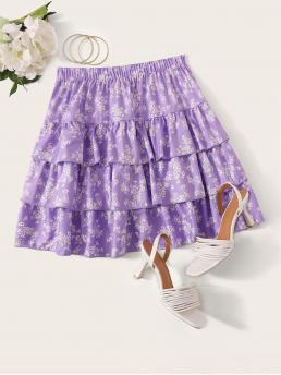 Boho Layered/Tiered Ditsy Floral Mid Waist Purple and Pastel Mini Length Layered Ruffle Ditsy Floral Skirt
