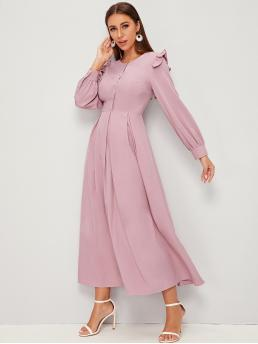 Elegant A Line Plain Flared Regular Fit Round Neck Long Sleeve Bishop Sleeve High Waist Pink Maxi Length Button Front Frill Pleated Dress