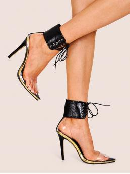 Glamorous Ankle Strap Plaid Ankle Strap Black High Heel Stiletto Point Toe Lace-up Front Ankle Cuff Stiletto Heels