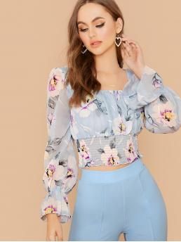 Boho Floral Tight Hem Top Regular Fit Square Neck Long Sleeve Flounce Sleeve Pullovers Blue Regular Length Floral Print Shirred Waist Chiffon Blouse with Lining