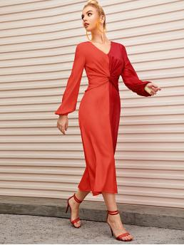 Elegant A Line Colorblock Straight Regular Fit V neck Long Sleeve Bishop Sleeve Natural Multicolor and Bright Long Length Two Tone Twist Front Lantern Sleeve Dress