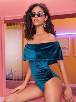 Glamorous Plain Skinny Off the Shoulder Sleeveless Blue Ruffle Trim Velvet Bardot Bodysuit