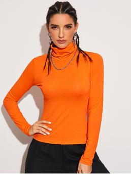 Casual Plain Slim Fit Funnel Neck Long Sleeve Regular Sleeve Pullovers Orange and Bright Regular Length Neon Orange Funnel Neck Form Fitted Tee