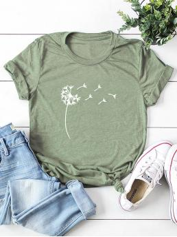 Casual Floral Regular Fit Round Neck Short Sleeve Regular Sleeve Pullovers Army Green Regular Length Dandelion Print Crew Neck Tee