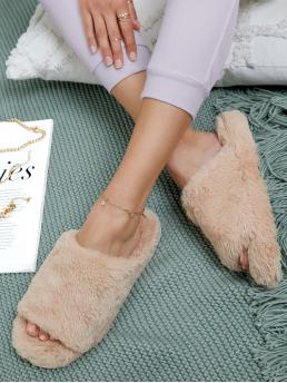 Affordable Apricot Bedroom Slippers Open Toe Faux Fur Fuzzy Slide Sandals