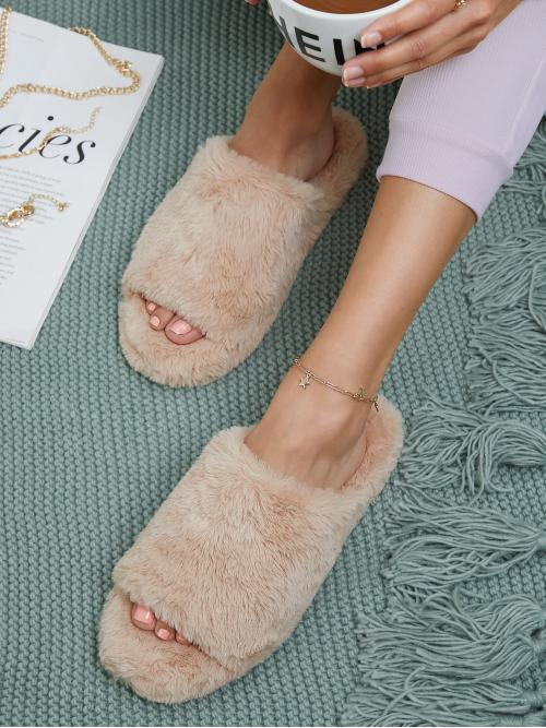 Apricot Bedroom Slippers Open Toe Faux Fur Fuzzy Slide Sandals Affordable