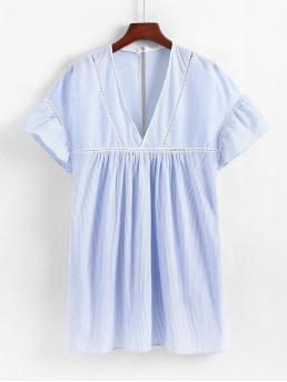 Cute Smock Striped Deep V Neck Short Sleeve Natural Blue Mini Length Lace Panel Striped Babydoll Dress