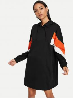 Sporty Regular Fit Hooded Long Sleeve Black Longline Length Drawstring Hoodie Colorblock Dress