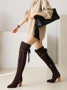 Discount Brown Mid Heel Chunky Point Toe Contrast Lace Heeled Boots