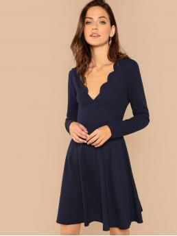 Navy Blue Plain Scallop Deep V Neck Edge Fit and Flare Dress Clearance