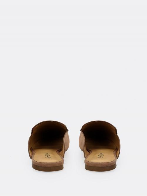 Corduroy Camel Mules Wrap Open Back Pointed Toe Loafer Fashion