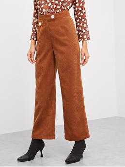 Brown High Waist Button Straight Leg Wide Waistband Cord Pants Beautiful