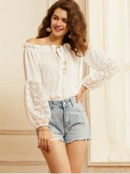 Boho Plain Top Regular Fit Off the Shoulder Long Sleeve Bishop Sleeve Pullovers White Regular Length SBetro Frill Trim Lace Sleeve Bardot Top