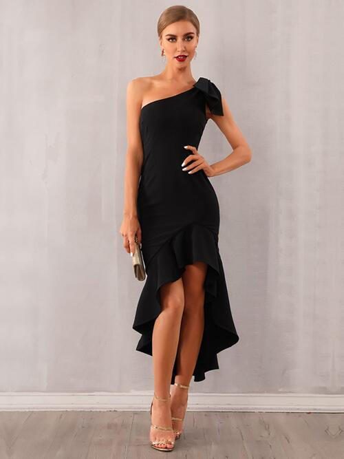 Black Plain High Low One Shoulder Knotted Dress Discount