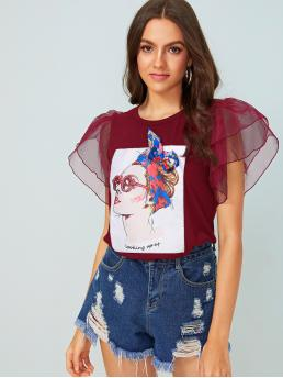 Casual Letter and Figure Regular Fit Round Neck Short Sleeve Pullovers Burgundy Regular Length Figure Graphic Exaggerated Ruffle Tee