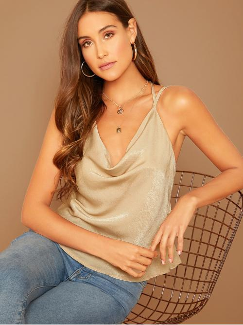 Glamorous Cami Plain Regular Fit Cowl Neck and Spaghetti Strap Beige Regular Length Double Strappy Draped Neck Satin Top