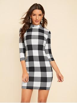 Elegant Bodycon Gingham Pencil Slim Fit Stand Collar Three Quarter Length Sleeve Regular Sleeve Natural Black and White Short Length Mock-neck Buffalo Plaid Print Bodycon Dress