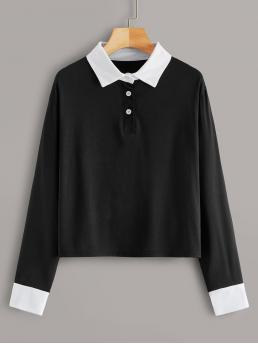 Casual Colorblock Regular Fit Collar Long Sleeve Regular Sleeve Half Placket Black Regular Length Contrast Cuff Polo Neck Tee
