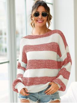 Casual Striped and Colorblock Pullovers Oversized Boat Neck Long Sleeve Regular Sleeve Pullovers Multicolor Regular Length Color-block Striped Drop Shoulder Sweater