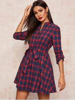 Preppy Shirt Plaid Flared Regular Fit Notched Long Sleeve Roll Up Sleeve High Waist Multicolor Short Length V-cut Neck Roll Tab Sleeve Belted Plaid Dress with Belt