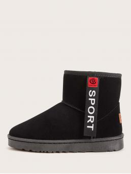 Comfort Other Round Toe Letter No zipper Black Letter Patch Decor Faux Fur Lined Ankle Boots