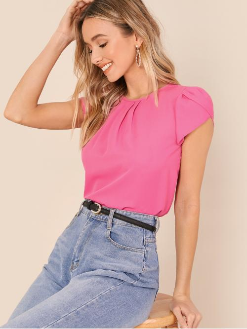 Elegant Plain Top Regular Fit Round Neck Cap Sleeve Pullovers Pink Regular Length Pleated Detail Petal Sleeve Top