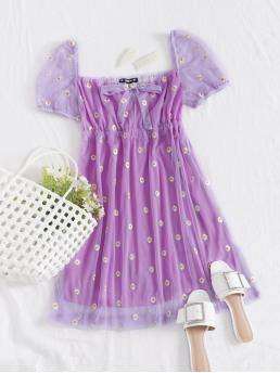 Clearance Lilac Purple Floral Tie Front Square Neck Embroidered Daisy Print Mesh Overlay Dress