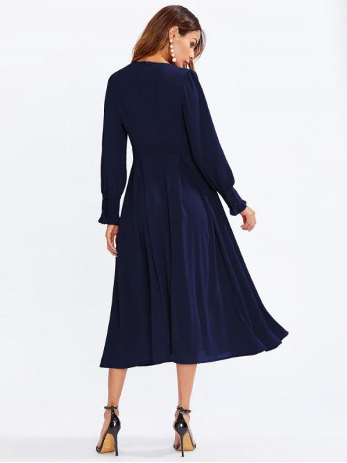 Navy Blue Plain Frill Round Neck Plisse Box Pleat Dress Pretty