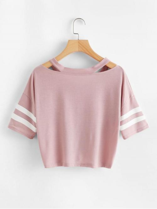 Short Sleeve Cut out Striped Pink Neck Varsity Knot Front Tee Affordable