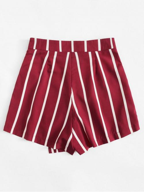Sale Red Natural Waist Knot Straight Leg Side Shorts