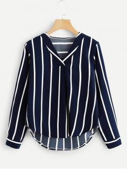 Casual Striped Top Regular Fit V neck Long Sleeve Pullovers Navy Regular Length Curved Hem Striped Top