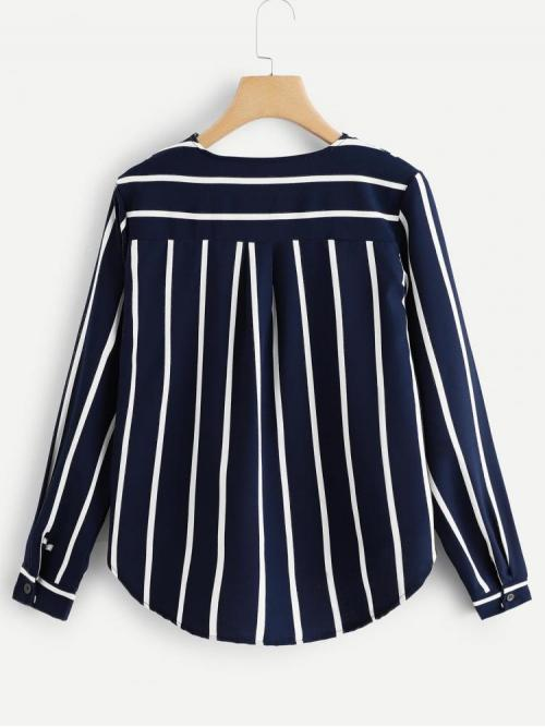 Long Sleeve Top Button Polyester Curved Hem Top Clearance