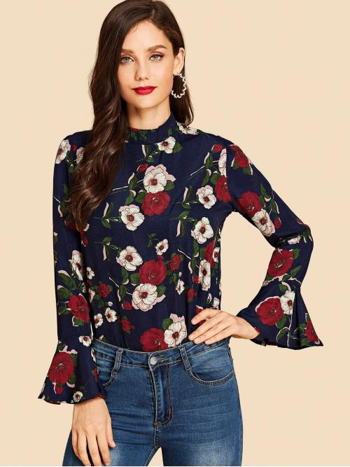 Trending now Long Sleeve Top Zipper Polyester Ruffle Sleeve Shirt