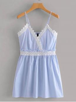 Boho Cami Striped Flared Regular Fit Spaghetti Strap Sleeveless Natural Blue Mini Length Lace Panel Stripe Cami Dress