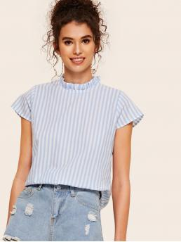 Casual Striped Top Regular Fit Stand Collar Cap Sleeve Regular Sleeve Pullovers Blue and Pastel Regular Length Keyhole Back Frill Mock Neck Striped Blouse
