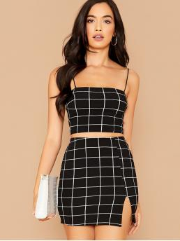 Sexy Plaid Slit Slim Fit Spaghetti Strap Sleeveless Black Grid Cami Top &  Split Hem Slim Skirt Set