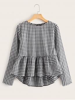 Cute Gingham Peplum Regular Fit Round Neck Long Sleeve Regular Sleeve Pullovers Black and White Regular Length Ruffle Dip Hem Gingham Top