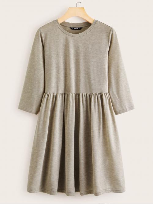Cute Tee Plain Flared Regular Fit Round Neck Long Sleeve Regular Sleeve High Waist Khaki Short Length Heather Knit Smock Tee Dress