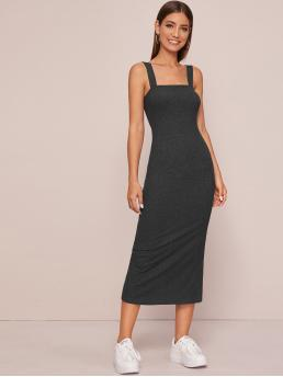 Sporty Fitted Plain Slit Slim Fit Straps Sleeveless Natural Grey Long Length Thick Strap Split Back Fitted Jersey Dress
