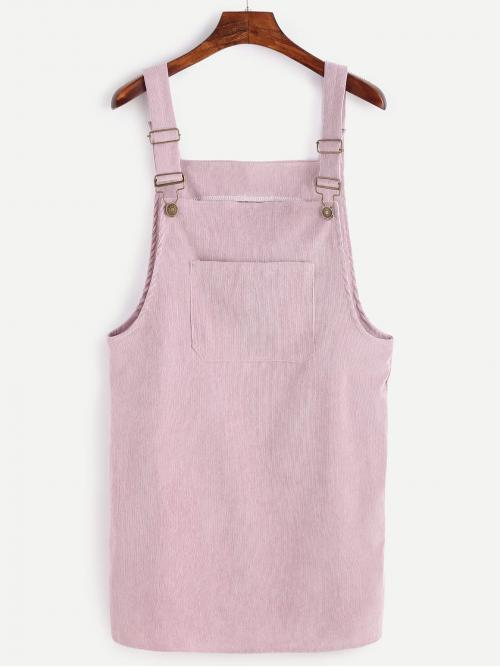 Preppy Pinafore Plain Straight Loose Straps Sleeveless Natural Purple and Pastel Short Length Front Pocket Corduroy Overall Dress