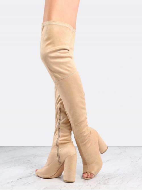 Polyester Apricot Stretch Boots Belted Faux Thigh Boots Nude Ladies
