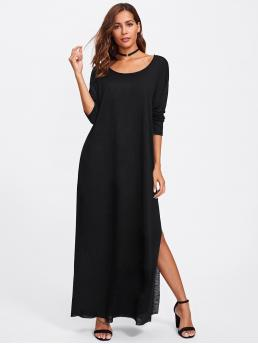 Basics Tee Plain Slit Loose Scoop Neck Long Sleeve Natural Black Maxi Length Slit Side Paper Thin Tee Dress