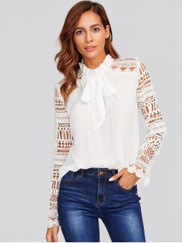 Elegant Plain Top Regular Fit Stand Collar Long Sleeve White Frilled Tie Neck Guipure Lace Sleeve Top